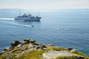 Scillonian III approaching the Isles of Scilly