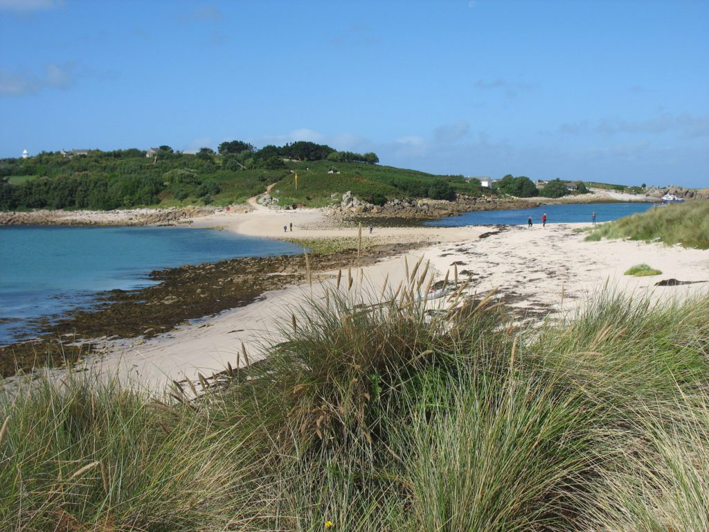 The sandbar between St Agnes and Gugh on the Isles of Scilly