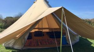 Bryher Campsite Bell Tents include an awning for even more space