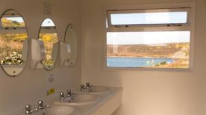 Ladies' washroom, overlooking Tresco Channel on Bryher Campsite