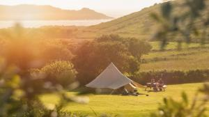 Bell Tent overlooking the Atlantic on Bryher Campsite